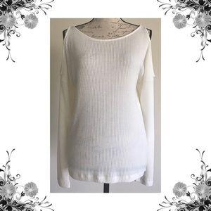 {Splendid} Cold Shoulder Ribbed Knit Sweater Top